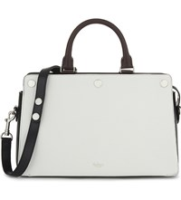 Mulberry Chester Grained Leather Tote White Black Oxblood