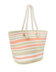 Magid Striped Straw Tote Pink Stripe