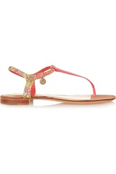 Emilio Pucci Printed Canvas And Patent Leather Sandals