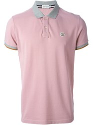 Moncler Contrast Collar Polo Shirt Pink And Purple