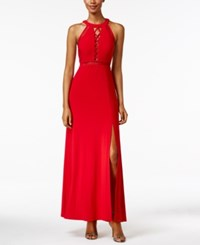 Nightway Petite Lace Up Illusion Halter Gown Red