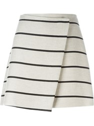 Msgm Striped A Line Skirt Nude And Neutrals