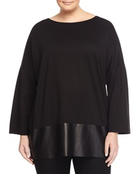 Lafayette 148 New York Oversized Faux Leather Dolman Tee Black