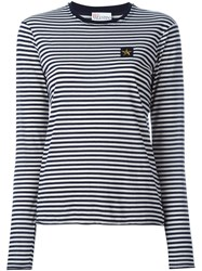 Red Valentino Longsleeved Striped T Shirt Blue