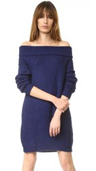 Mlm Label Off Shoulder Sweater Dress Navy