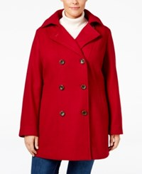 Nautica Plus Size Hooded Double Breasted Peacoat Red