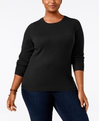 Charter Club Plus Size Cashmere Crewneck Sweater Only At Macy's Classic Black