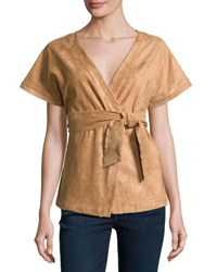 State Of Being Eliza Faux Suede Wrap Jacket Top Rust