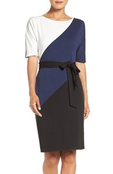 Ellen Tracy Women's Colorblock Ponte Sheath Dress Black White Navy Combo