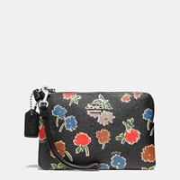 Coach Small Wristlet In Daisy Field Print Coated Canvas Silver Daisy Field Blk