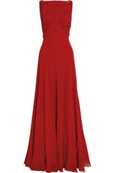 Saint Laurent Hand Pleated Silk Georgette Gown Red