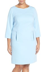 Plus Size Women's Eliza J Pocket Detail Shift Dress Blue