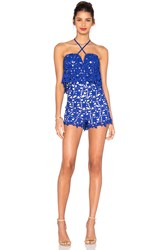 J.O.A. Halter Neck Lace Romper Royal