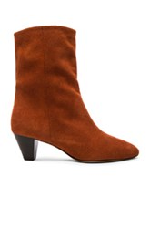 Etoile Isabel Marant Dyna New Velvet Booties In Orange Brown Orange Brown