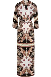 Etro Printed Wrap Effect Crepe Maxi Dress