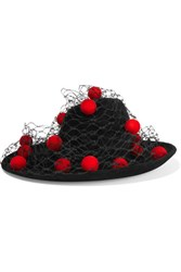 Philip Treacy Pompom Embellished Veiled Wool Felt Hat Black