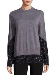 Yigal Azrouel Cashmere And Silk Crewneck Sweater Heather Grey Multi