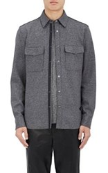 Rag And Bone Men's Double Faced Wool Blend Shirt Jacket Grey