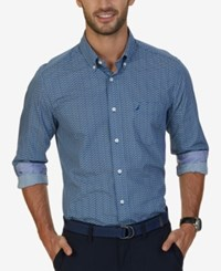 Nautica Men's Classic Fit Anchor Print Shirt True Blue