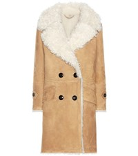 Burberry Candleton Shearling Lined Suede Coat Brown
