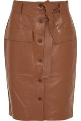 Jonathan Saunders Edith Leather Skirt Brown