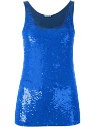 P.A.R.O.S.H. 'Geek' Sequin Tank Top Blue