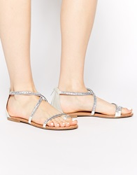 New Look Hideout Silver Beaded Flat Sandals