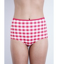 Solid And Striped The Bridgette High Rise Bikini Bottoms Raspberry Gingham