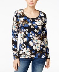 Karen Scott Floral Print Long Sleeve T Shirt Only At Macy's Bright Blue