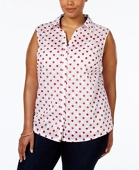 Karen Scott Plus Size Polka Dot Button Down Shirt Only At Macy's New Red Amore
