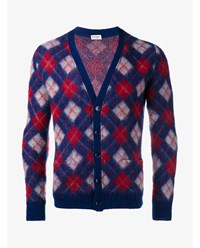 Saint Laurent Mohair And Wool Argyle Cardigan Red Blue Cream Golden White