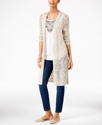 Jm Collection Petite Open Front Crochet Cardigan Only At Macy's Flax