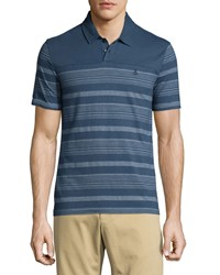 Penguin Short Sleeve Block Striped Polo Shirt Dark Denim