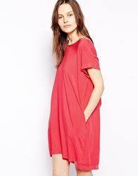 Aryn K T Shirt Dress With Draped Back Detail Coral