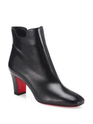 Christian Louboutin Leather Mid Heel Ankle Boots Black