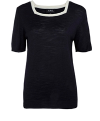 A.P.C. Navy Day Square Neck Silk Knit Jumper