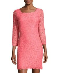 Diane Von Furstenberg Zarita Lace Sheath Dress Coral