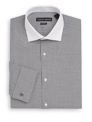 Vince Camuto Modern Fit Houndstooth Cotton Dress Shirt Black White