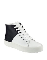 Kendall Kylie Dylan Leather High Top Sneakers White Black