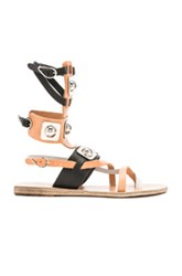 Ancient Greek Sandals X Peter Pilotto Leather Low Gladiator Sandals In Black Neutrals