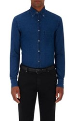 Ermenegildo Zegna Men's Denim Button Down Shirt Blue
