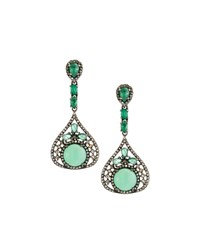 Bavna Chrysoprase Emerald And Diamond Drop Earrings