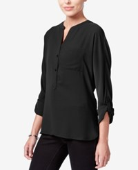 Bar Iii High Low Tab Sleeve Blouse Only At Macy's Deep Black
