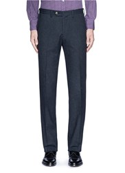 Canali Regular Fit Houndstooth Cotton Flannel Chinos Blue