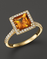 Bloomingdale's Citrine And Diamond Ring In 14K Yellow Gold Orange Gold