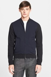 Todd Snyder Colorblock Front Zip Varsity Sweatshirt Black