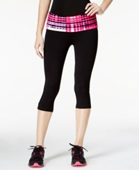 Material Girl Active Juniors' Foldover Waist Cropped Leggings Only At Macy's Power Plaid