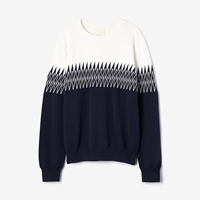 Band Of Outsiders Zig Zag Jacquard Sweater Navy White