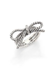 Marc Jacobs Rope Bow Ring Silvertone Antique Silver