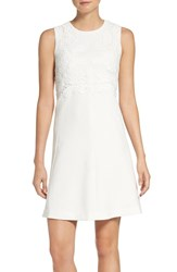 Eliza J Women's Lace Ponte Fit And Flare Dress